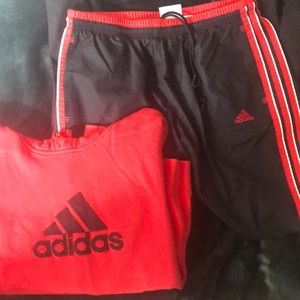 BUNDLE: red and black adidas track suit